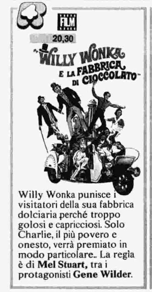 Willy Wonka trasmissione televisiva datata 22 dicembre 1987, annunciata dal Radio Corriere