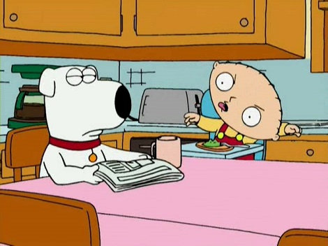 stewie-mocking-brian-at-the-table
