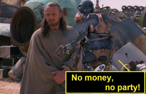 "Watto che dice ""no money, no party"""