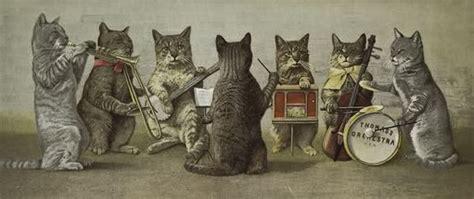 Raffigurazione di gatti che impugnano strumenti musicali