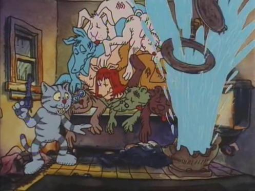 Scena di Fritz il gatto con doppiaggio dialettale, il gatto Fritz spara al cesso