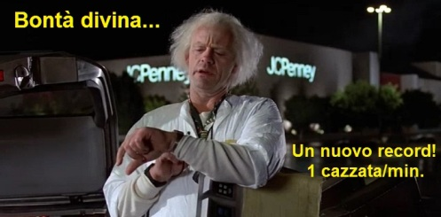 Doc Brown dal film Ritorno al futuro che guarda l'orologio e dice: bontà divina, una cazzata al minuto