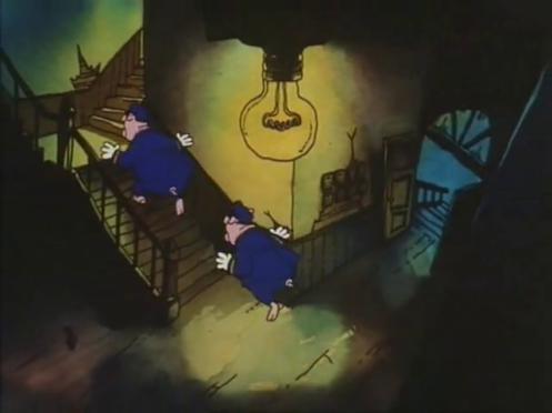 Scena di Fritz il gatto con poliziotti maiali che salgono le scale