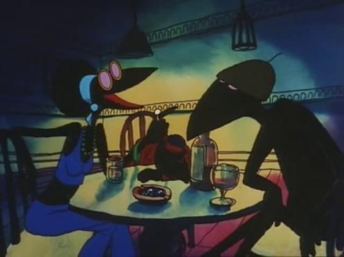 Scena di Fritz il gatto, corvi al bar