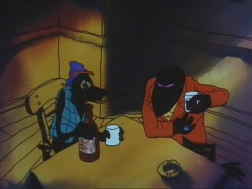 Scena di Fritz il gatto con doppiaggio dialettale, discorso al bar tra due corvi