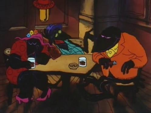 Scena di Fritz il gatto con doppiaggio dialettale, corvi che discutono al bar