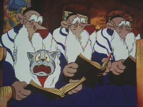 Scena dal film Fritz il gatto, Fritz in sinagoga si nasconde nella barba di un rabbino