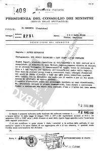 Visto censura del Ministero dello Spettacolo per il film Il sospetto, datato 1945